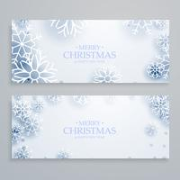 clean white merry christmas banners set with snowflakes