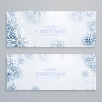 bandeiras de Natal feliz branco limpo conjunto com flocos de neve