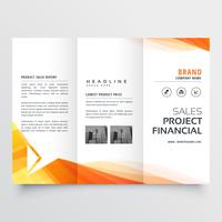 elegant business tri fold brochure design with gray wavy shapes