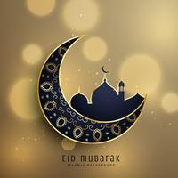 lua crescente e mesquita com decoração floral para eid f muçulmano