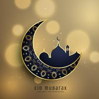 crescent moon and mosque with floral decoration for muslim eid f