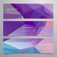 ensemble de trois bannières violettes abstraites
