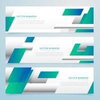 bannières commerciales bleu moderne sertie de formes abstraites