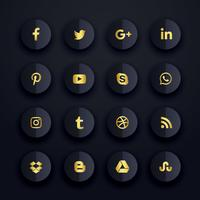 donkere premium sociale media iconen set