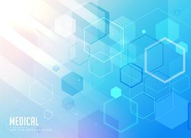 fundo azul de cuidados médicos com formas geométricas hexagonais