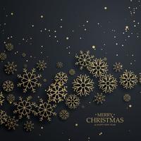 fantastisk svart bakgrund med guld snöflingor för god Christma