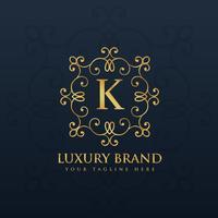 beautiful floral monogram logo for letter K