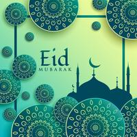 Fondo de saludo de festival de eid creativo con patrones islámicos