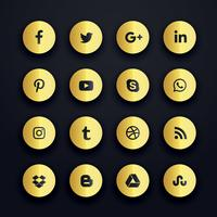 pacote de premium de ícones de mídia social redonda dourada