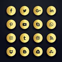 gouden ronde sociale media pictogrammen premium pack