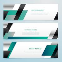 modern business style banners set in geometric shapes