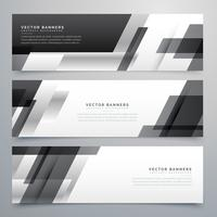 black business banners design in geometric style