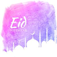 watercolor background for eid festival season with mosque silhou
