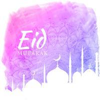 fond aquarelle pour la saison du festival eid avec silhouette de la mosquée