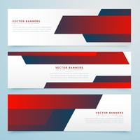 red abstract business banners vector template set