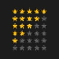 rating stars in black background