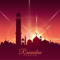 Ramadan Kareem Season Begrüßung mit Moschee und glänzendem Stern