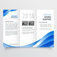 creative tri-fold brochure design template with trendy wave styl