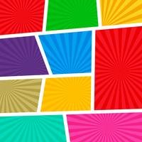 empty comic book page template colorful background with rays