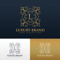 vintage floral style monogram logo design for letter L