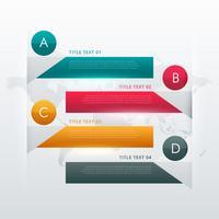 Diseño infográfico colorido en cuatro pasos para visualización de datos.