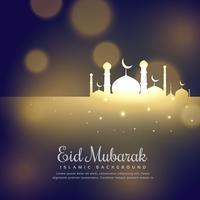 Mezquita resplandeciente silueta diseño eid mubarak saludo