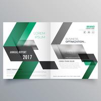 abstract bifold business brochure design template with green sha