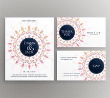 Invitación de boda, rsvp y gracias plantilla de diseño de tarjeta