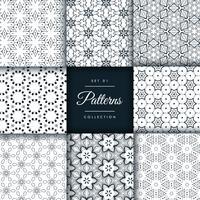 patrón abstracto establecido en 8 estilos diferentes