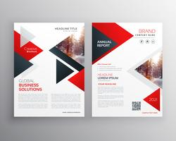 business brochure in red black triangle shape template design