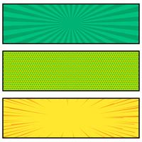 trois conception de bannière de style bande dessinée lumineuse