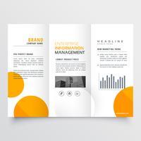 Diseño de folleto tríptico empresarial corporativo con círculos naranjas.