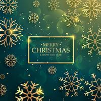 Schöner erstklassiger goldener Schneeflockenhintergrund für frohe Weihnachten