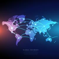 mapa do mundo digital ligado por linhas de conexões de design de rede