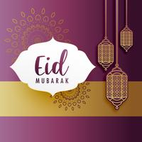 creative eid festival greeting with hanging lamps