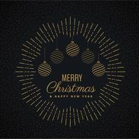 design de cartão de feliz natal com bolas de suspensão