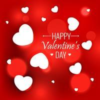 Elegante fondo rojo con corazones blancos para el día de San Valentín.