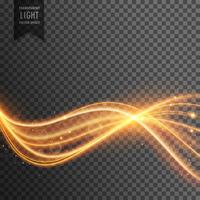 abstrakter goldener Lens Flare transparenter Lichteffekt mit welligem Li
