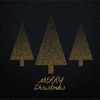 stylish christmas tree made with golden dots on black background