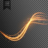 Efecto de luz transparente con rastros y destellos.