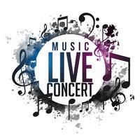 Resumen grunge música concierto en vivo cartel diseño