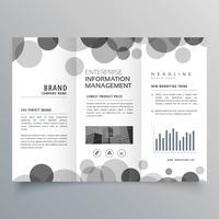 creatieve zwarte cirkel driebladige brochure ontwerpsjabloon