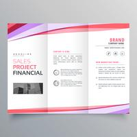 kreativ trifold företagsbroschyr mall layout med färgstarka