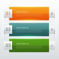 Diseño de plantilla de infografía moderna de tres pasos para pres. de negocio