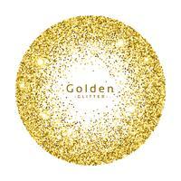 gold glitter circle frame vector background