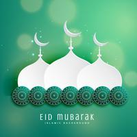 islamic eid festival design with mosque and decoration