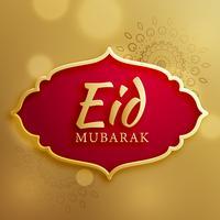 Biglietto di auguri festival eid mubarak su sfondo dorato