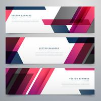 business banners set in geometric shapes