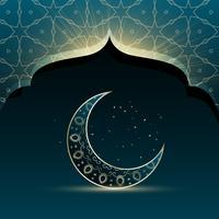 porta da mesquita com a lua crescente criativa para o festival do eid