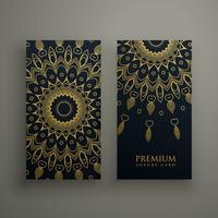 dark mandala card or banners design with golden ornamental decor